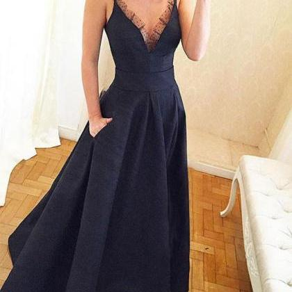 Sexy V Neck Chiffon Prom Dress , Ev..