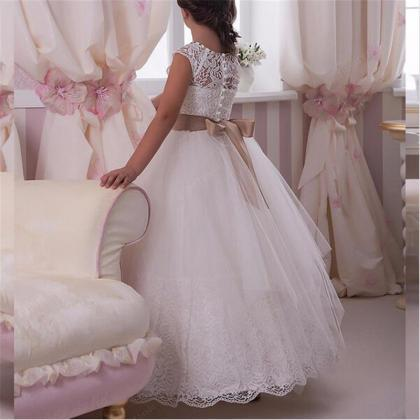 Lace Applique Crystal Floor Length ..