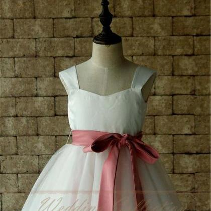 White/Ivory Flower Girl Dress Tulle..