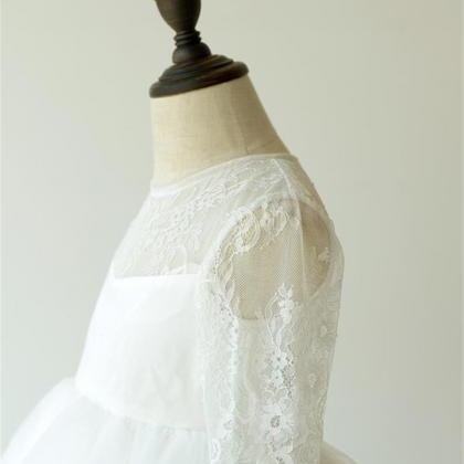 White Ivory Lace Flower Girl Dresse..