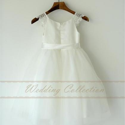White Ivory Flower Girl Dress with ..