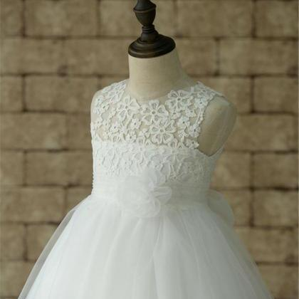 White Ivory Lace Tulle Flower Girl ..