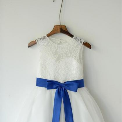 Lace flower girl dresses white with royal blue