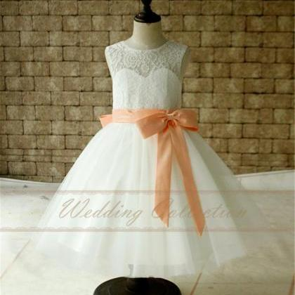 7fe2623b5c2 Ivory White Lace Tulle Flower Girl Dress With Peach Sash And Bow ...