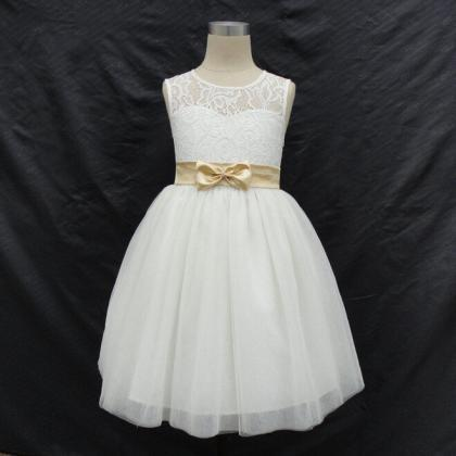 Flower Girl Dresses with Bow Keyhol..