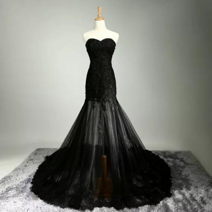 Special lace wedding dresses black..