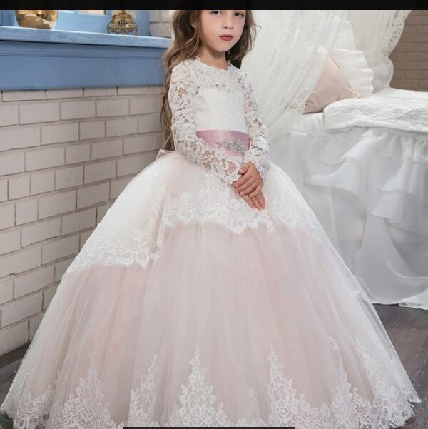 dba8e6590f0ba New Applique Long Sleeve Ball Gown Cute Flower Girl Dress Kids Brithday  Party Dress Princess Dress For Wedding Formal Occasion