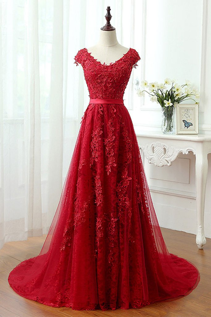 Sexy Strapless Lace Cap Shoulder Ball Gown Prom Dress Evening With Bow Dress Party Dress Bridesmaid Dress Wedding Occasion Dress Formal Occasion Dress