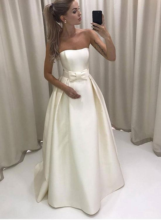 Sexy Women Strapless Long Skirt Prom Dress Evening With Bow Dress Party Dress Bridesmaid Dress Wedding Occasion Dress Formal Occasion Dress