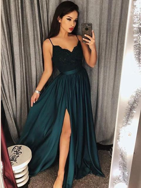 6869fb5f410 Dark Green Long Spaghetti Straps Simple Prom Dresses For Teens