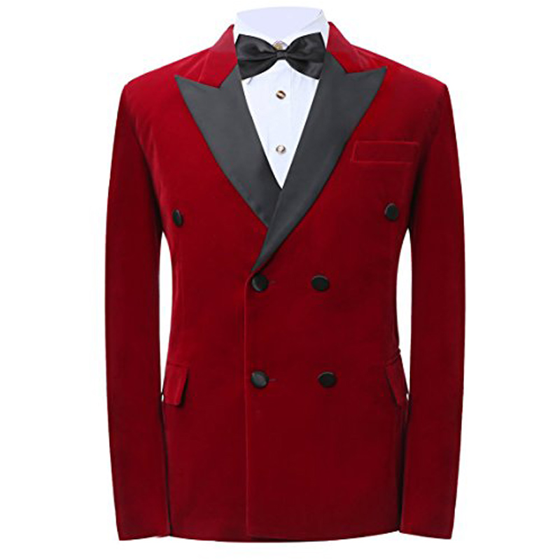 Red Velvet Formal Wedding Men Suits Black Peaked Lapel Double Breasted Two Piece Wedding Tuxedos Ja On Luulla