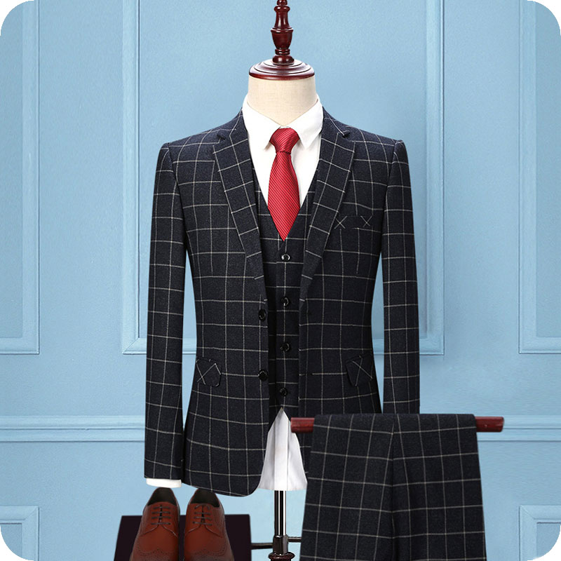 Latest Designs Burgundy Grid Men Suits for Wedding Slim Fit Check Groom Tuxedos 3Piece (Coat+Pants+Vest) Groomsmen Suit Blazer Man Jacket