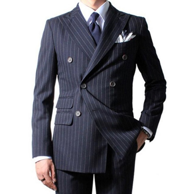 Black Plaid Business Party Men Suits for Wedding Peaked Lapel Double Breasted Two Piece Wedding Groom Tuxedos Custom Made Jacket Pants