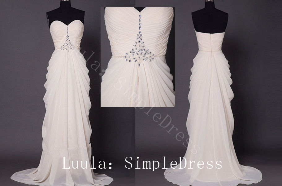 New cheap plus size modest white/Ivory Prom Dresses Bead sweeheart zipper or lace up Long Evening Part dress wedding dress custom dress