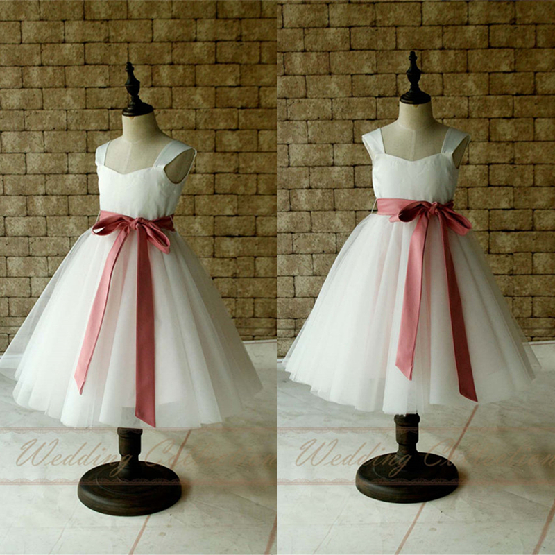 White/Ivory Flower Girl Dress Tulle Skirt Cap Sleeves Tea Length with Sugar Plum Sash W5
