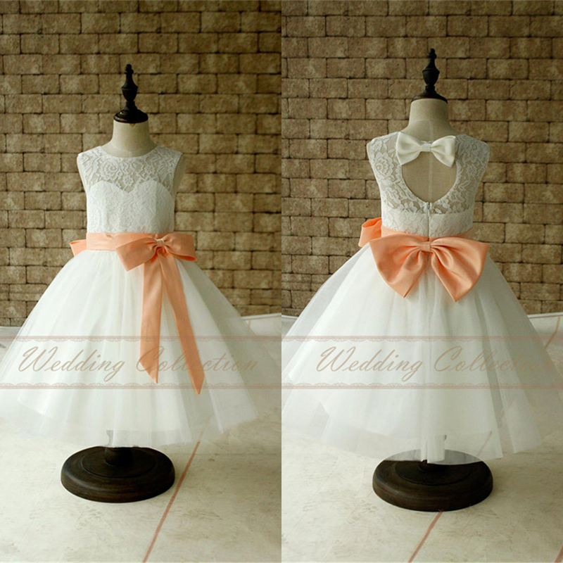 43b70d42514 ... Peach Sash and Bow Baby Dress W75. Ivory White Lace Tulle Flower Girl .