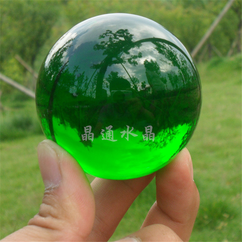 40mm Natural Green Crystal Sphere Magic Crystal Healing Ball Sphere + Stand LH-33