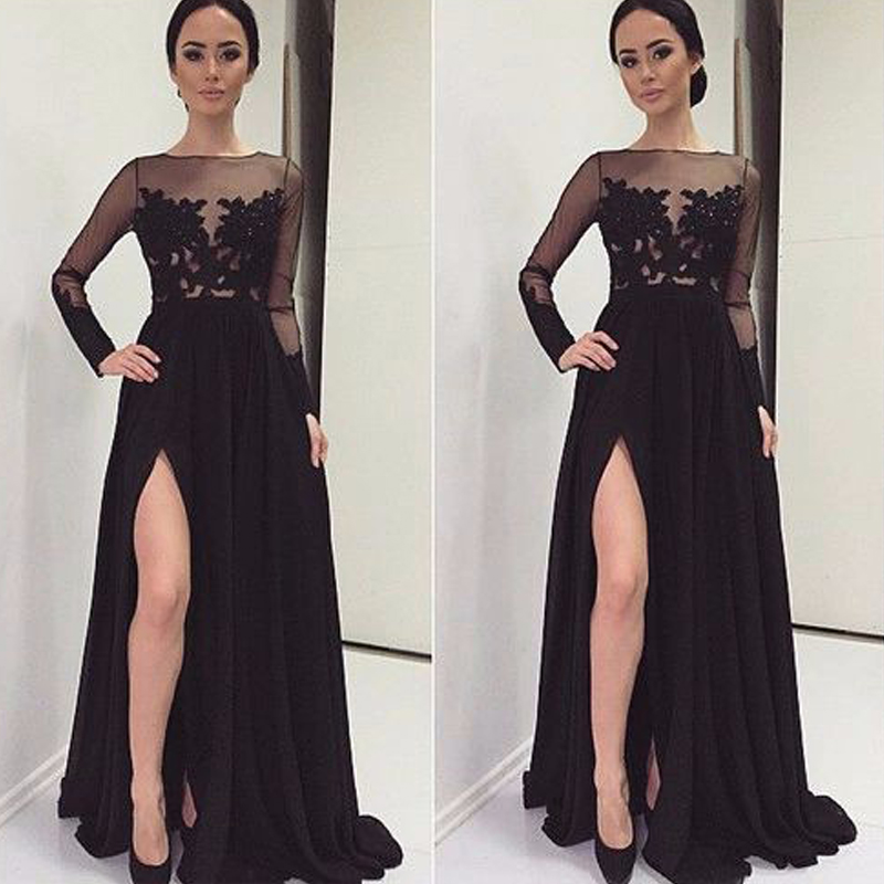 Gorgeous Slit High Long Evening Dresses 2017 Black Chiffon Full Sleeves See-Through Lace Wedding Party Prom Gowns Custom PP24