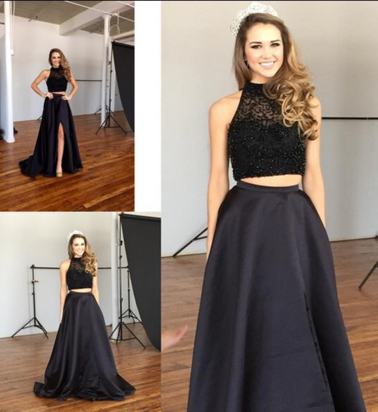 Two Piece Prom Dresses 2016 New Arrival Elegant Black Appliques Beads Sleeveless O Neck Sweep Train Evening Gowns PP47
