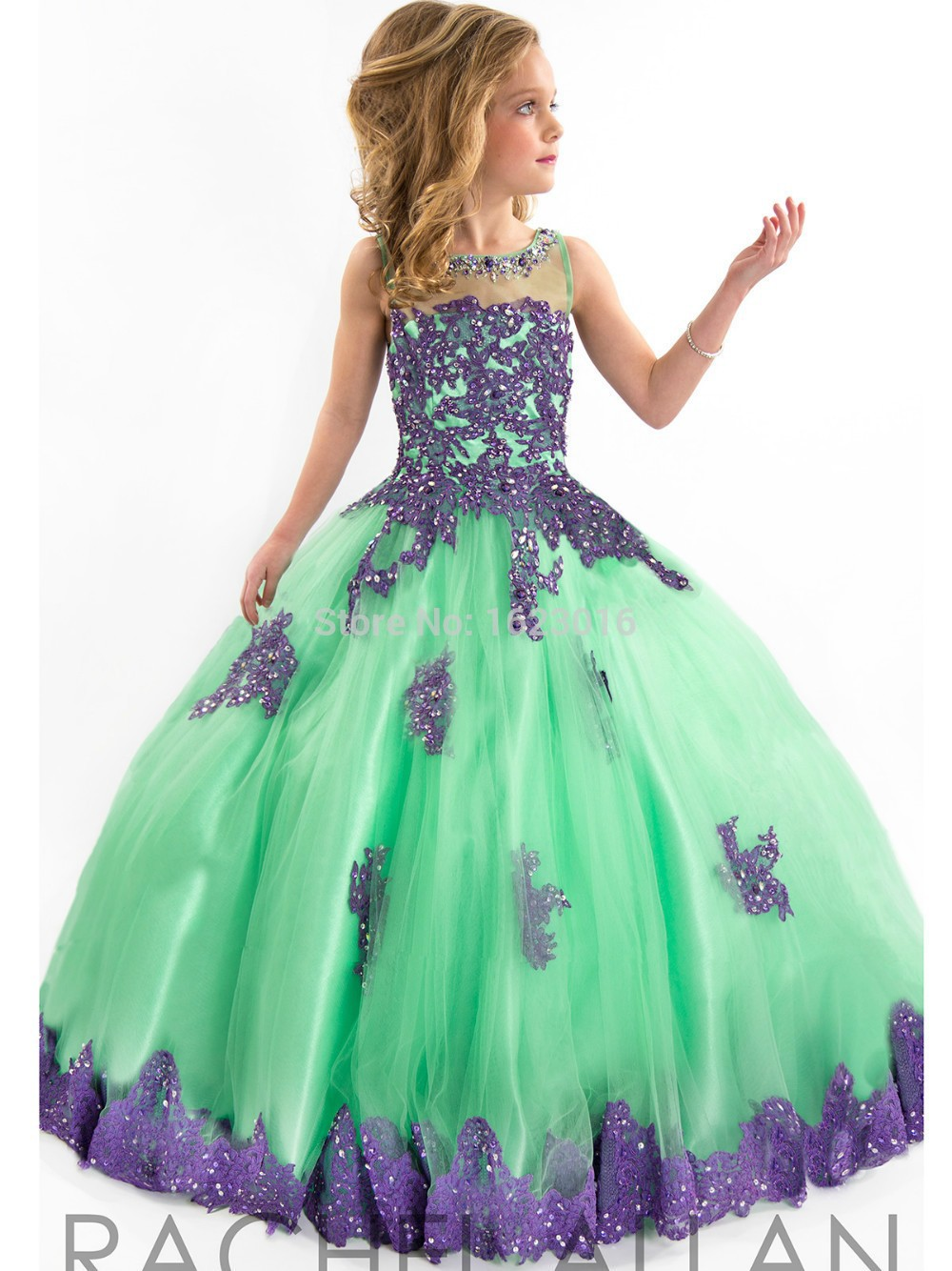 Girls Pageant Dresses Ball Gown Green Red Blue Appliques Beaded See