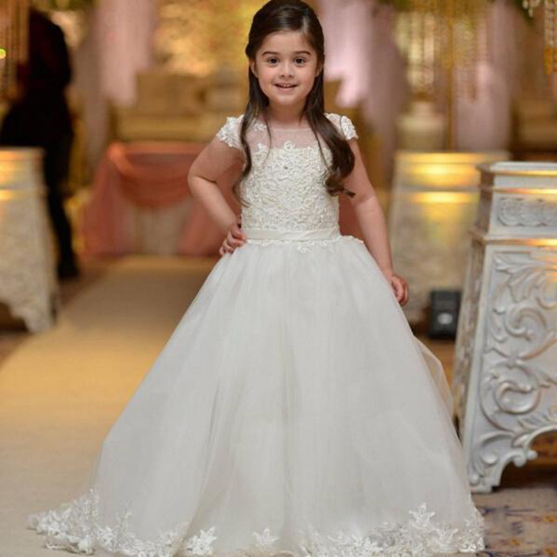 74729b3032 First Communion Dresses For Weddings Girls Ball Gown Cap Sleeve Lace ...