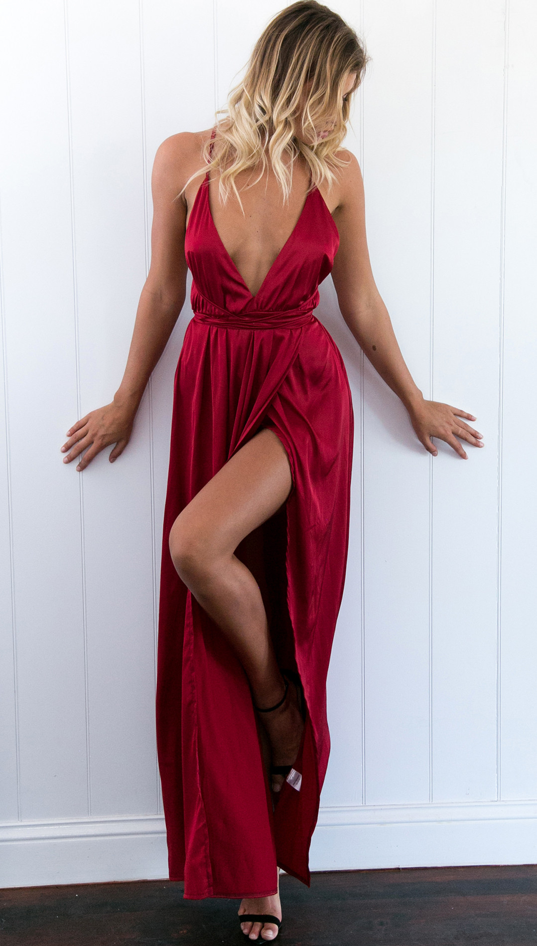 99b402ded8 Custom Made Strappy Satin Plunging V Neckline Open Back Cami Dress with  High Split