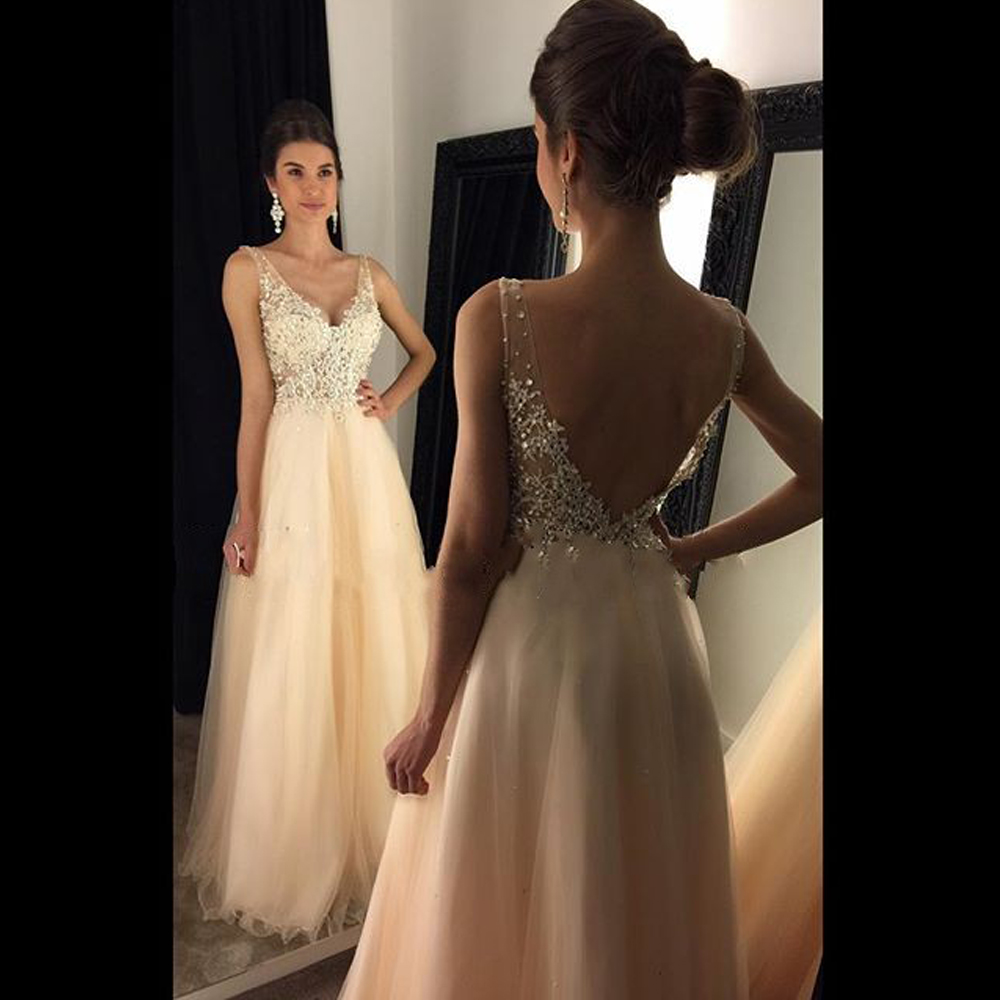 Long Light Champagne Tulle Prom Dress Applique V Back Sequins Beading Prom  Dress Evening Dress Party Dress LF40 daf3e18c7