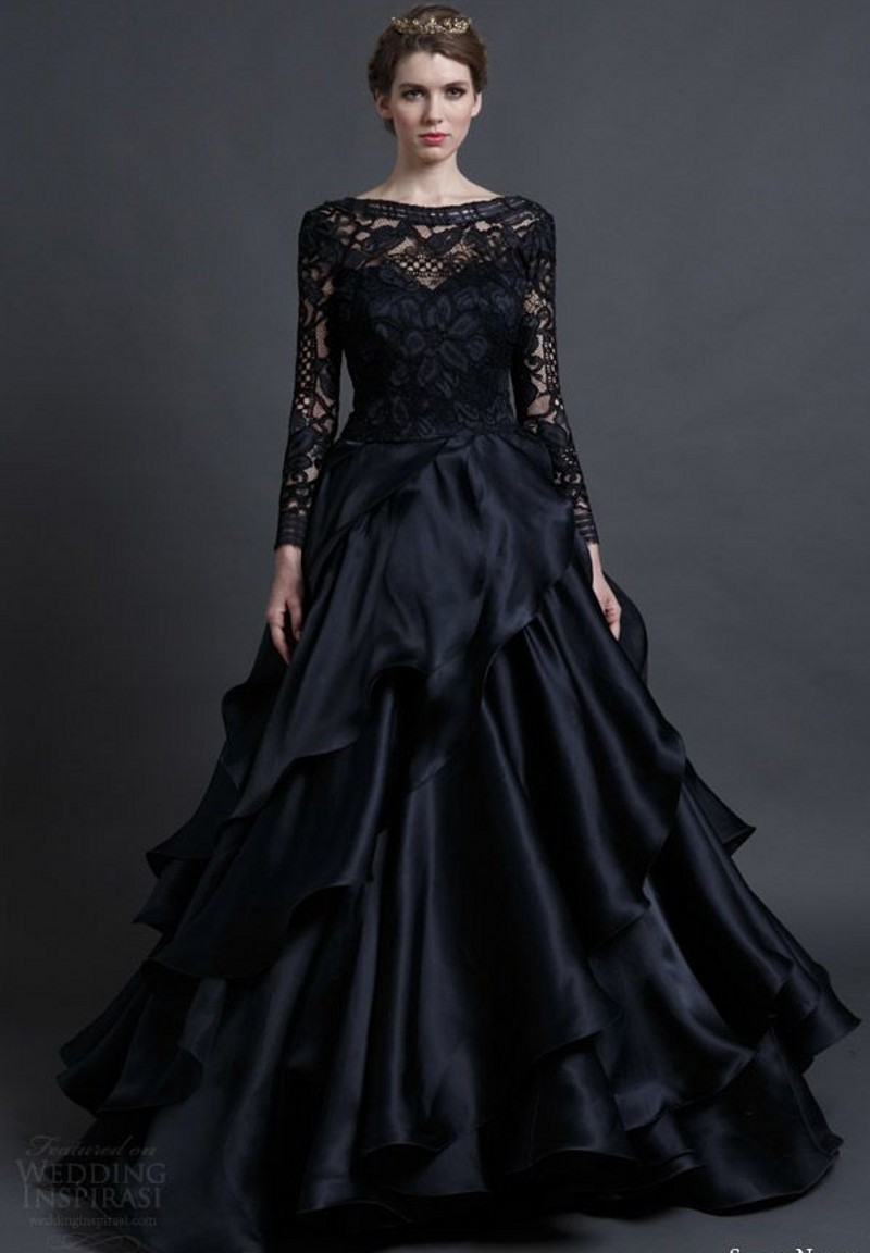 8cce10bc8ed New Arrival Designer Long Sleeves Black Wedding Dress With Lace Bodice  Backless Bride Gowns C37