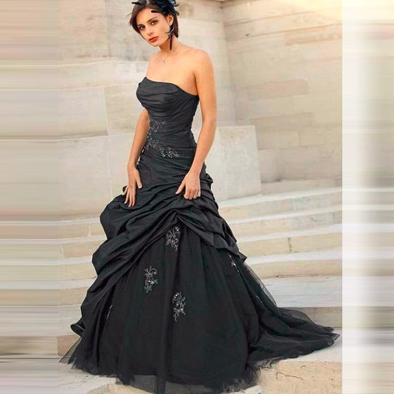 Y Taffeta Tulle Mermaid Black Wedding Dress With Liques Pleasted Long For Strapless Vestido De Noiva C41