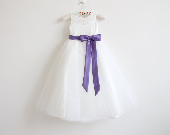 Light ivory flower girl dress purple baby girls dress lace tulle light ivory flower girl dress purple baby girls dress lace tulle flower girl dress with purple sashbows floor length d7 mightylinksfo