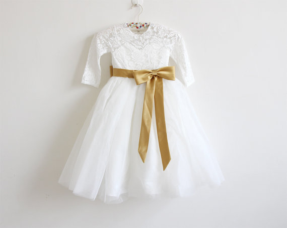 e7a4b6497a3 Long Sleeves Light Ivory Flower Girl Dress Lace Tulle Flower Girl Dress  With Gold Sash Bows Floor-length D8