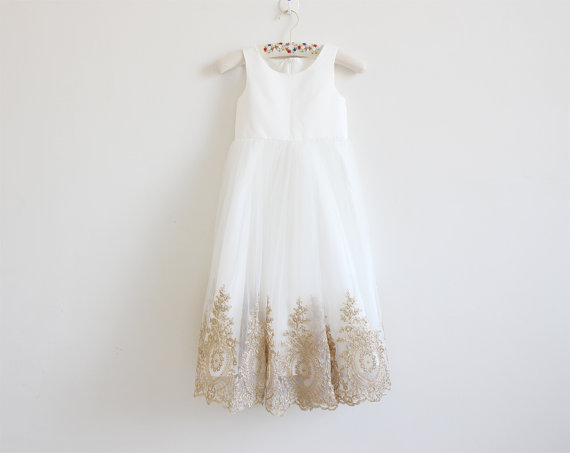 6b65868b15b Light Ivory Flower Girl Dress with Gold Embroidery Straps Ivory Baby Girl  Dress Ivory Embroidery Flower Girl Dress Floor-length D13