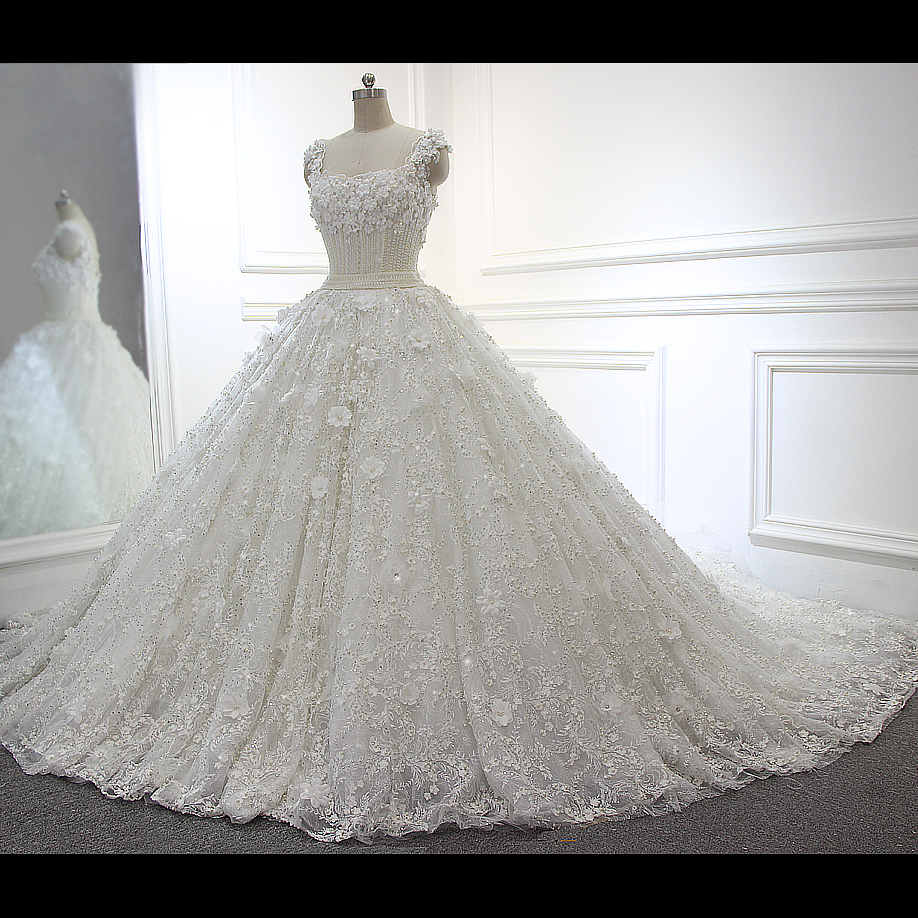 100% Real Photos Full Beading Luxury Ball Gown White/Ivory Wedding Dresses JD25
