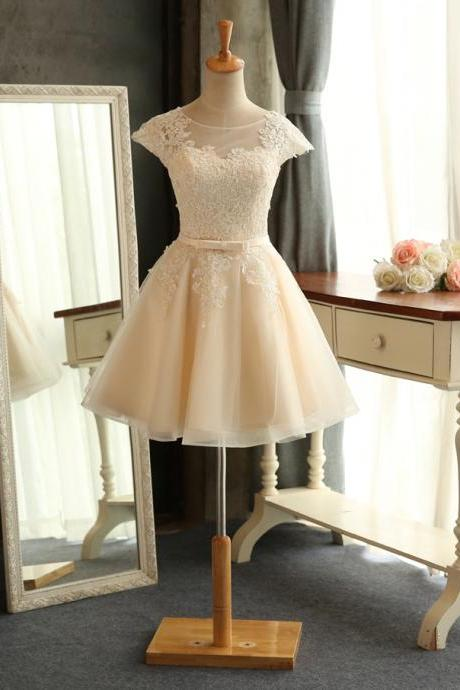 New Design Lace Applique Short Mini Bridal Gwon Bridal Wedding Dress Party Dress E5