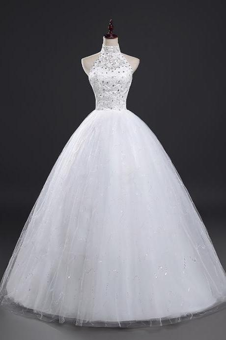 Real Photo New Ball Gown Lace Applique Beaded Full Length Bridal Gwon Bridal Wedding Dress Party Dress E22