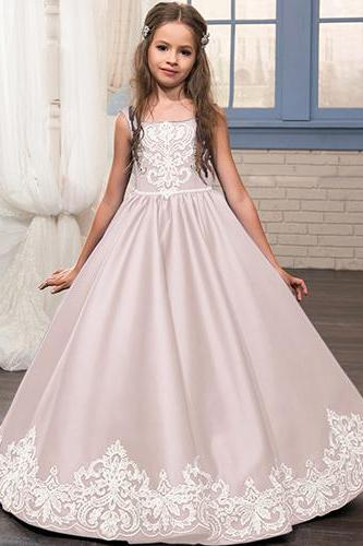 New Applique Ball Gown Cute Flower Girl Dress Kids Brithday Party Dress Princess Dress For Wedding Formal Occasion