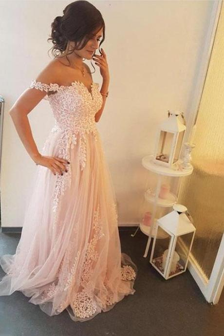 Pink Lace Full Length Cap Shoulder Prom Dress Evening Dress party Dress Bridesmaid Dress Wedding Occasion Dress Formal Occasion Dress