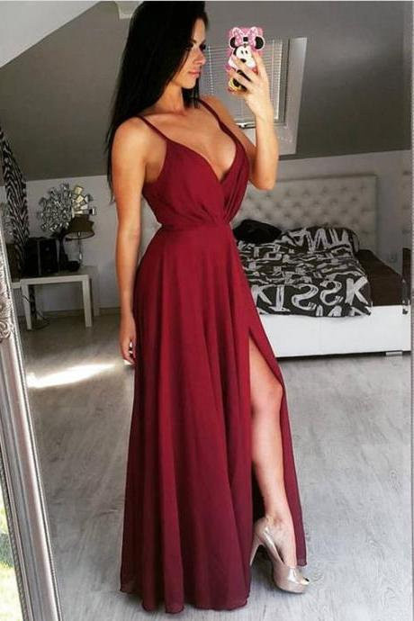 Sexy Long V Neck Chiffon Prom Dress Evening Dress Party Dress Bridesmaid Dress Wedding Occasion Dress Formal Occasion Dress