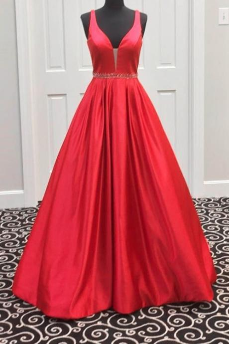 Sexy Long V Neck Taffta Prom Dress Evening Dress Party Dress Bridesmaid Dress Wedding Occasion Dress Formal Occasion Dress