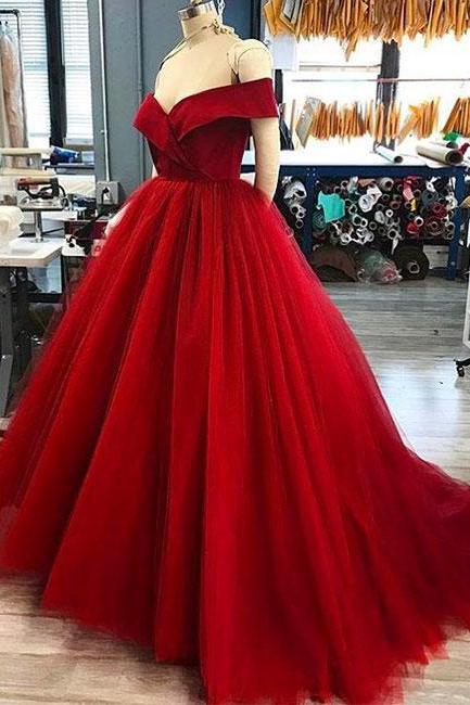Sexy Long Red Cap Shoulder Ball Gown Prom Dress Evening With Bow Dress Party Dress Bridesmaid Dress Wedding Occasion Dress Formal Occasion Dress