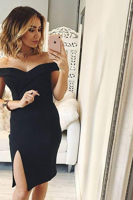 Sexy Short Skirt Black Prom Dress , Evening Dress , Party Dress , Bridesmaid Dress , Wedding Occasion Dress , Formal Occasion Dress
