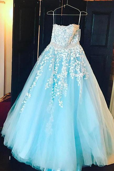 Sexy Full length Blue Lace Prom Dress , Evening Dress , Party Dress , Bridesmaid Dress , Wedding Occasion Dress , Formal Occasion Dress