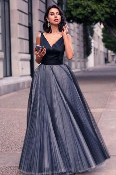 Sexy Full length Tulle Prom Dress , Evening Dress , Party Dress , Bridesmaid Dress , Wedding Occasion Dress , Formal Occasion Dress