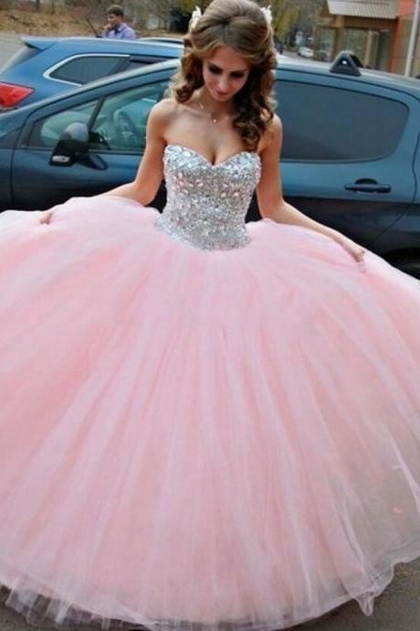 Sexy Full length Tulle Beaded Prom Dress , Evening Dress , Party Dress , Bridesmaid Dress , Wedding Occasion Dress , Formal Occasion Dress