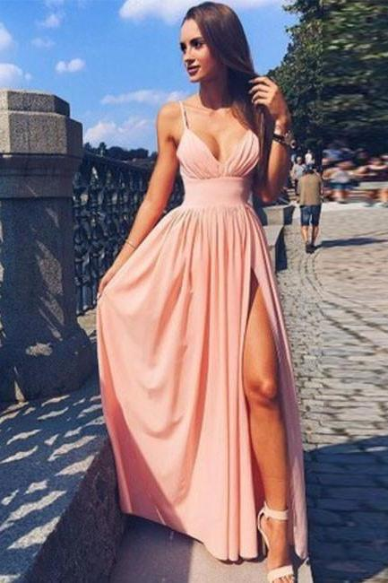 Sexy Full length Pink Beach Dress Chiffon Prom Dress , Evening Dress , Party Dress , Bridesmaid Dress , Wedding Occasion Dress , Formal Occasion Dress