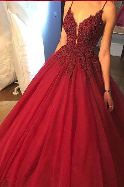 Sexy V Neck Lace Applique Prom Dress , Evening Dress , Party Dress , Bridesmaid Dress , Wedding Occasion Dress , Formal Occasion Dress