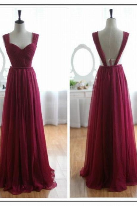 Burgundy Ruched Sweetheart Shoulder Straps Floor Length Tulle A-Line Wedding Guest Dress Featuring Open Back