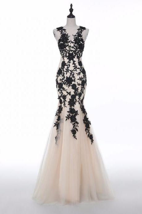 Black Lace Appliqués Halter Neck Floor Length Tulle Mermaid Bridesmaid Dress, Evening Dress