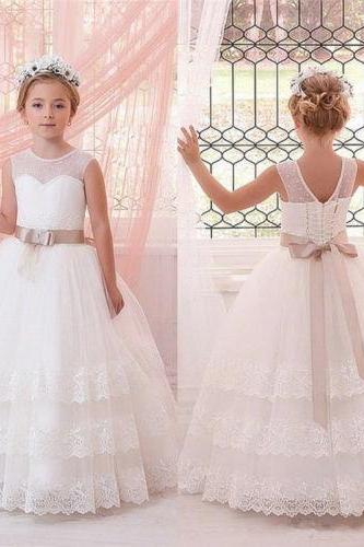 Lace Applique flower girl dress PROM dress with Sash girl flower children's clothes