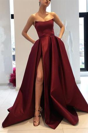 Strapless Burgundy Long Satin Leg Split Prom Evening Dresses, Backless Custom Made Prom Gowns